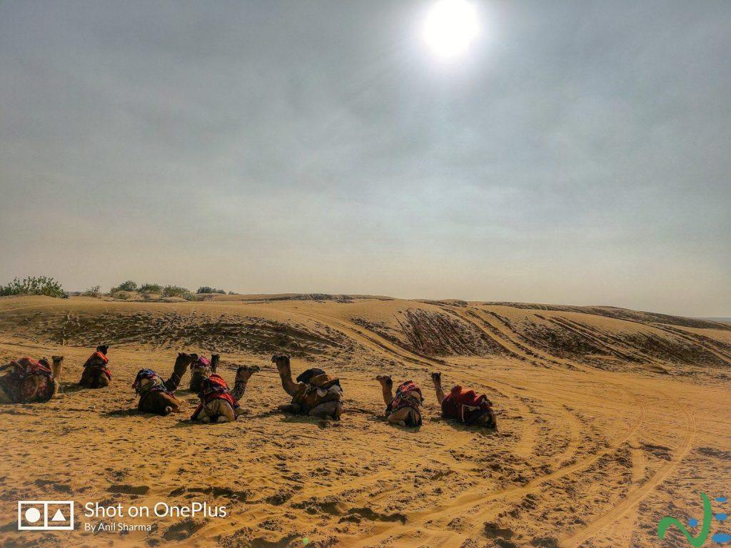 A panoramic view of Jaisalmer dunes
