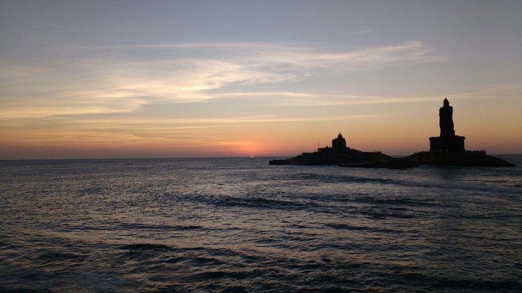 A beautiful view of Sunrise in Kanyakumari a state in South India