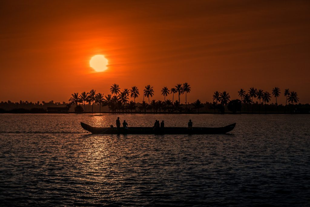 A Sunset view a house boat in Alleppey Kerela, a state in South India